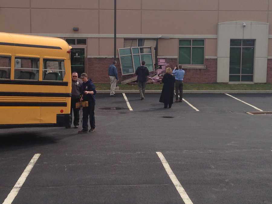 A school bus crashed into a building on the 3800 block of Hempland Road shortly after 3 p.m. Wednesday.