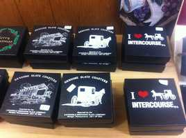 These coasters from Dutch Haven feature common Lancaster County scenes like a covered bridge and a horse and buggy.