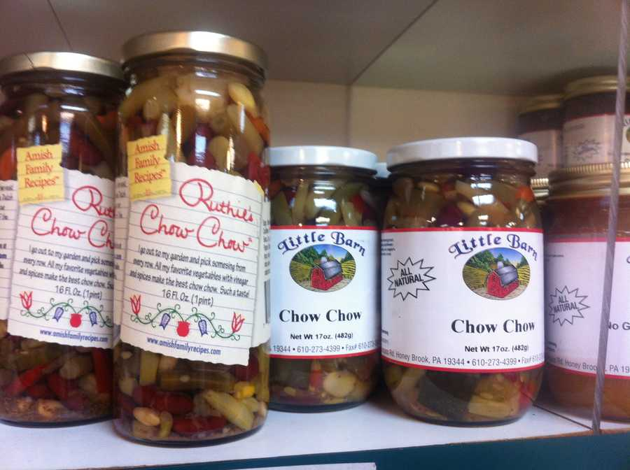"Canned goods like ""chow chow"" are a popular tourist find in Lancaster County."