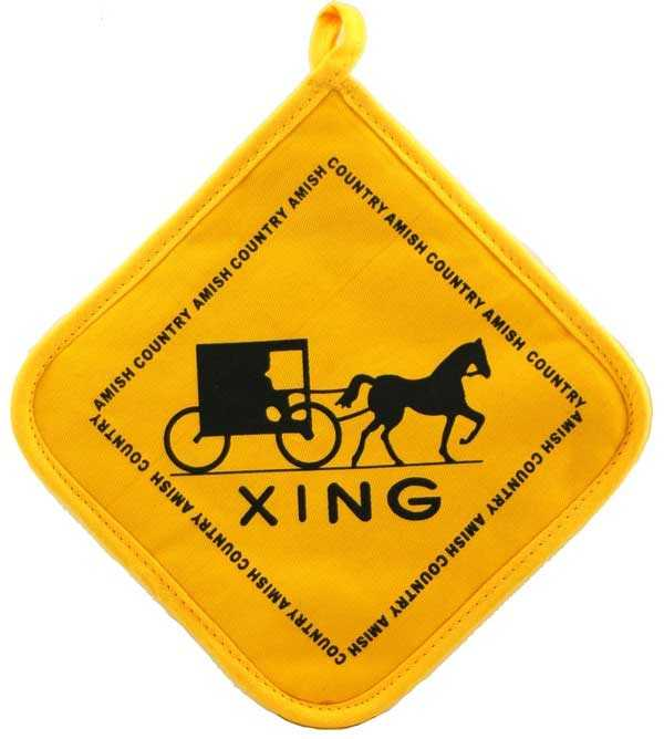 "This potholder from www.almostamish.net depicts a ""buggy crossing"" road sign."
