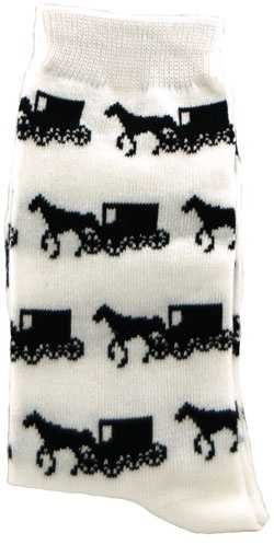 These socks from www.almostamish.net feature images of an Amish horse and buggy.