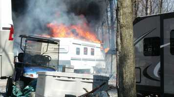 Flames tore through Eagles Peak Campground on Thursday afternoon.