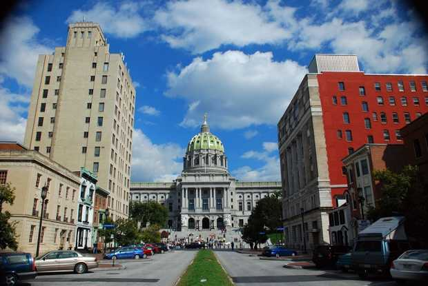 """7:The State Capitol building was designed by Philadelphia architect Joseph Huston who envisioned it as a """"Palace of Art."""" It was completed in 1822."""