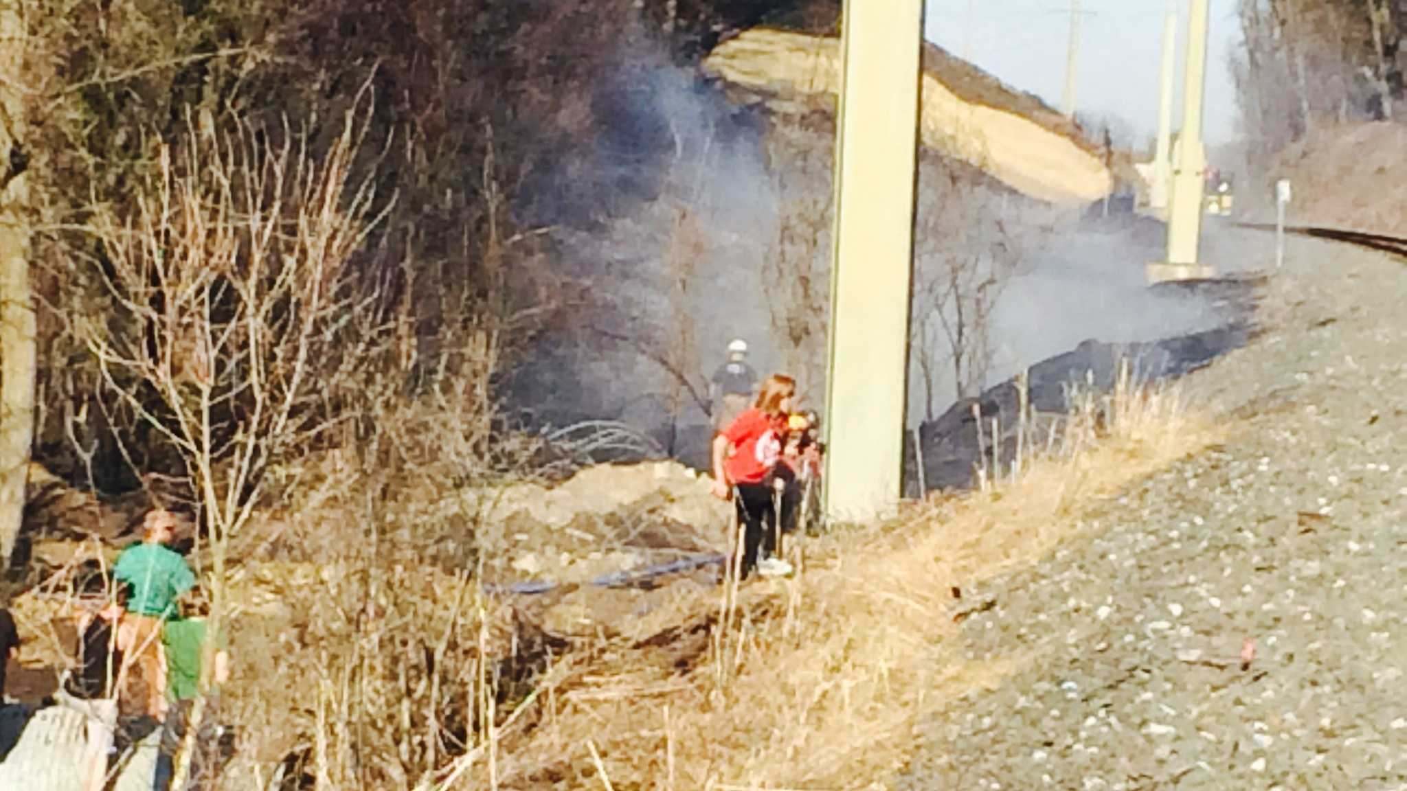 Several brush fires were started by a spark from a passing train in Lancaster County.