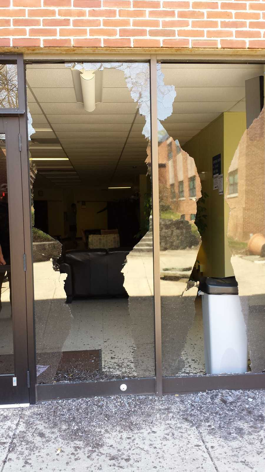 Police say over 15 windows were smashed.