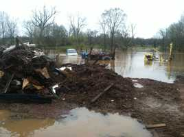 Floodwaters have covered part of a farm outside Littlestown, Adams County. It belongs to Rob Betz. All of the animals are OK. The area is prone to flooding.