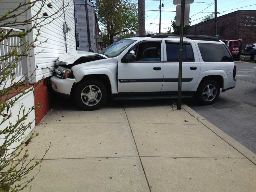A car crash sent one car crashing into a house in Lancaster City around 2 p.m. on Monday.