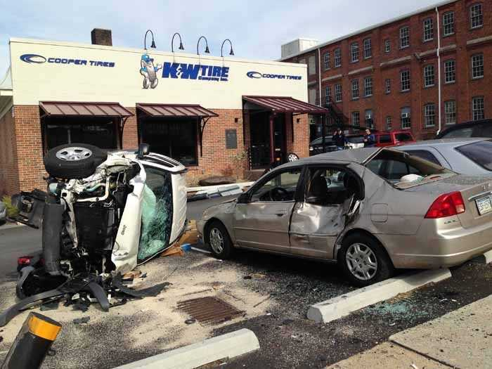 It was a frightening crash scene Monday afternoon in Lancaster when a vehicle hit utility poles, another vehicle and ended up on its side near Prince and Clay streets.