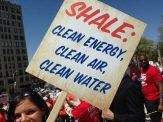 The Marcellus Shale Coalition met Tuesday morning at Metro Bank Park on City Island and marched to the Capitol steps.