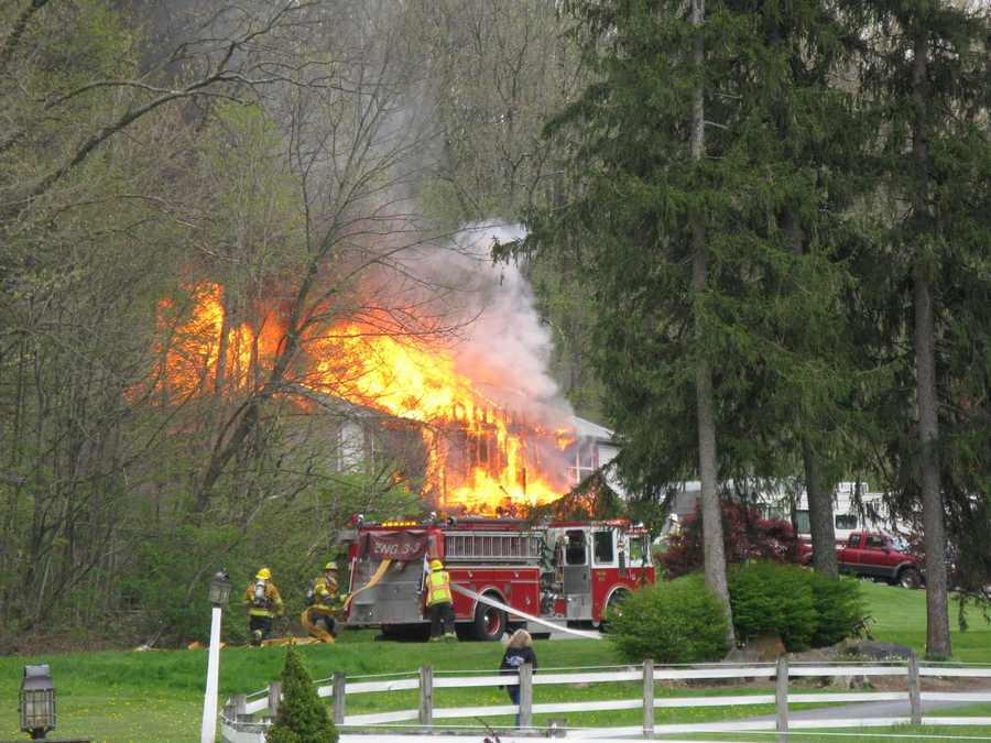Fire destroyed a home in Brecknock Township, Lancaster County on Wednesday afternoon.