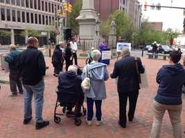 About two-dozen protesters turned out Thursday afternoon in downtown Lancaster to call for an increase in Pennsylvania's minimum wage.