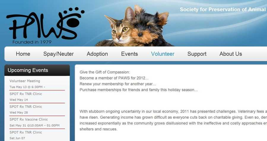 The Society for Preservation of Animal Welfare and Safety (PAWS) of Central Pennsylvania needs help at its shelter. Visit www.pawsofpa.org to learn more.