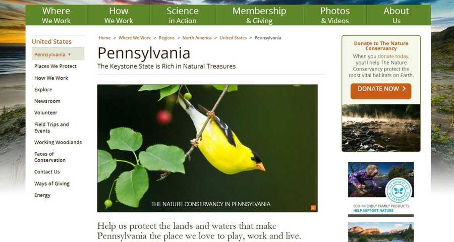 Help The Nature Conservancy protect the lands and waters that make Pennsylvania beautiful. Visit www.nature.org to learn more.