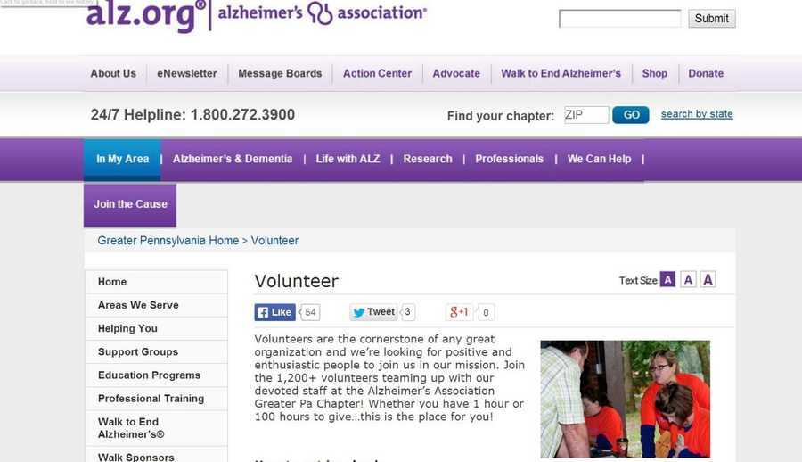 At the Greater Pennsylvania Alzheimer's Association, positive and enthusiastic people are needed to help with community outreach, group events, office work and more. Go to www.alz.org to learn more.