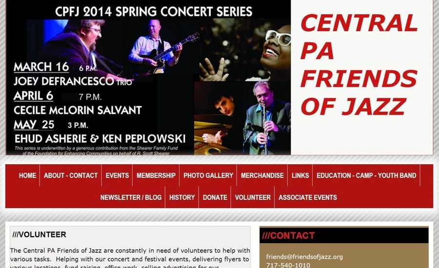 The Central Pennsylvania Friends of Jazz are constantly in need of volunteers to help with concerts and festivals, deliver flyers and fundraise. See www.friendsofjazz.org to learn more.