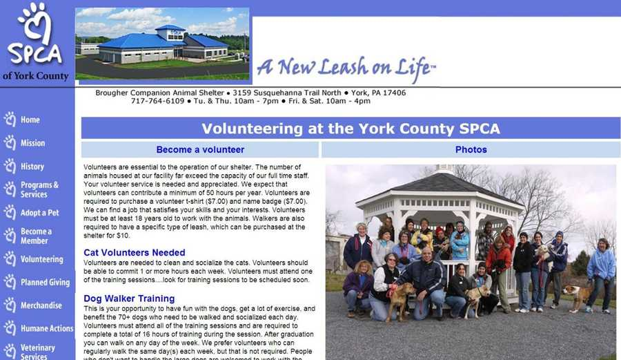 The York County SPCA needs volunteers at the shelter to help take care of cats and dogs. Go to www.ycspca.org to learn more.