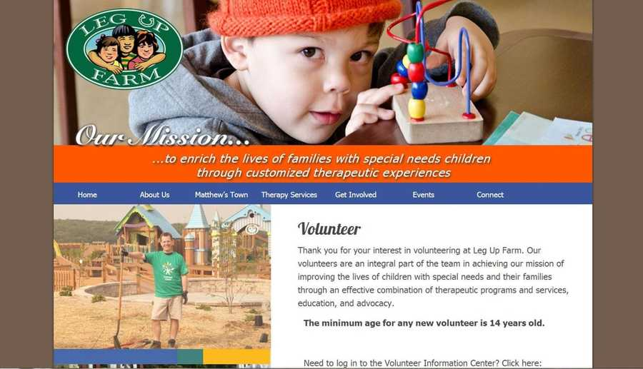 Volunteers are needed at Leg Up Farm in Mt. Wolf, Pa. to help improve the lives of children with special needs. Go to www.legupfarm.org to learn more.