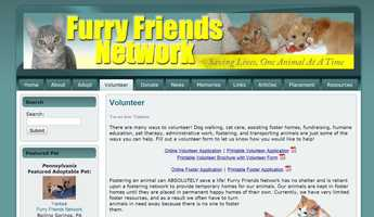 The Furry Friends Network in Boiling Springs, Pa. needs volunteers to help take care of dogs and cats. Volunteers can foster, fundraise, educate, transport animals and work in the office. See www.furryfriendsnetwork.com to learn more.