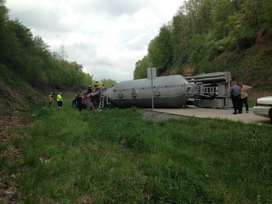 The crash at 1:16 p.m. involved a tanker truck running into the back of a PennDOT bridge cleaning operation on southbound I-81.