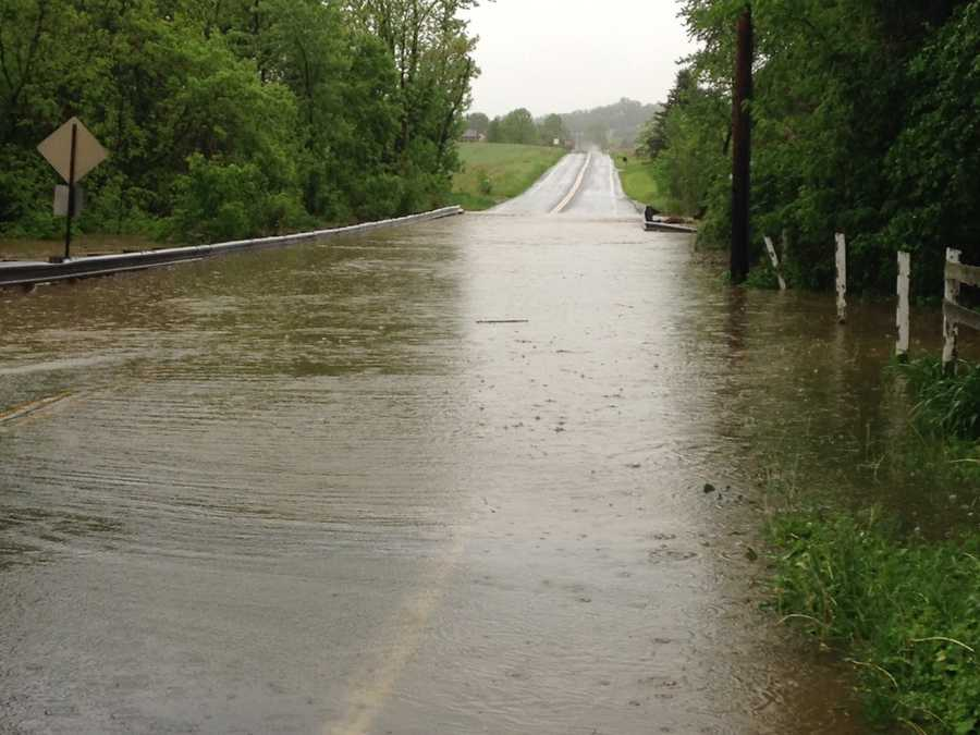Hellam, York County, Friday morning. Kreutz Creek floods one of its usual spots along Frysville Road.