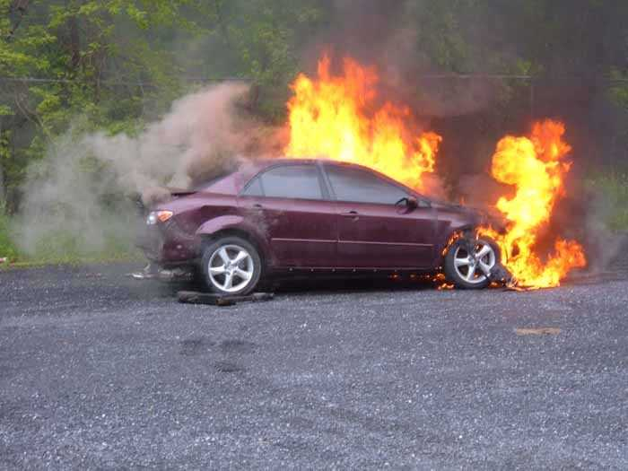 A fire destroyed a car in Cornwall Borough, Lebanon County, on Wednesday.