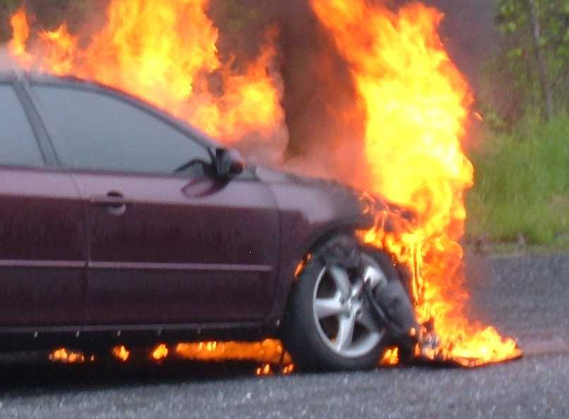 The Mazda, which was already a salvage vehicle form a previous accident, was destroyed by the fire.