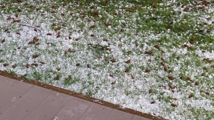 Hail on the ground in Holtwood, Pa.