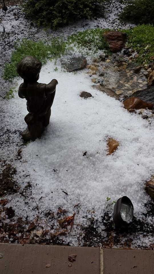 A pile of hail in Hellam, Pa.
