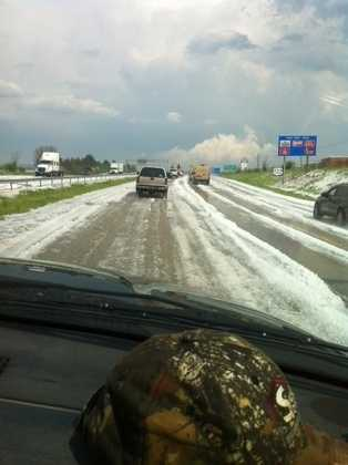 Hail on Route 222 in Reading, Pa.