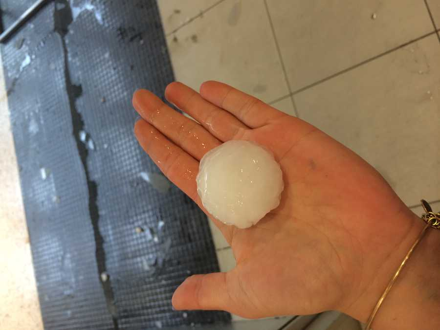 The hail was huge.