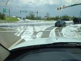 A U LOCAL user sent in this photo of hail-covered roads from Reading, Pa.