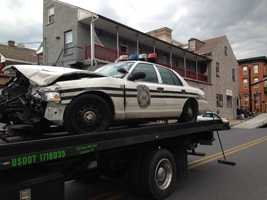 Two police cruisers crashed into one another at S. Water and W. Vine streets in Lancaster City on Friday afternoon.