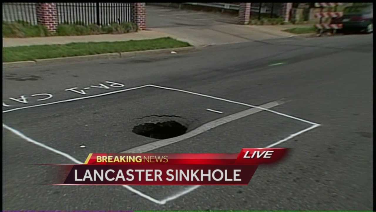 A small sinkhole has opened in a busy Lancaster road.