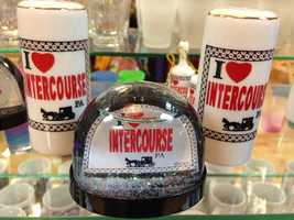 """The """"I love Intercourse, PA"""" phrase is found on items from salt and pepper shakers to snow globes."""
