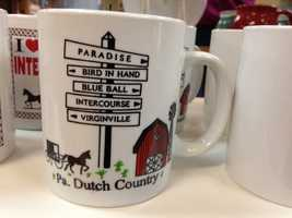 This mug references the names of some well-known Pennsylvania towns.