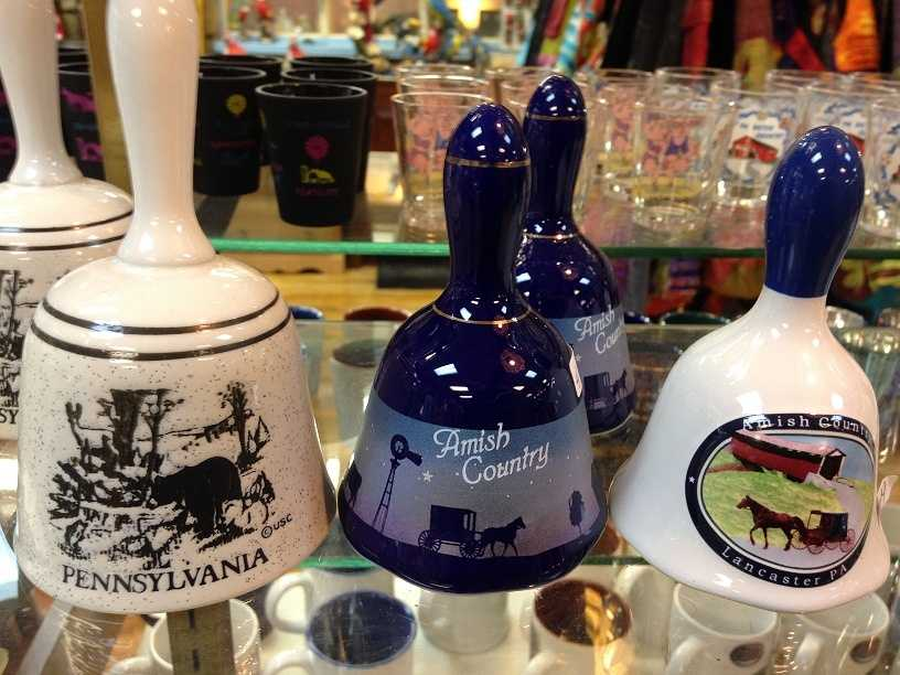 These bells, sold at Dutch Haven, reference Pennsylvania and Amish life.