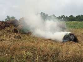 The fire department was called to Fawn Township, York County on Friday morning to extinguish some burning bales of hay that may have been a case of spontaneous combustion.