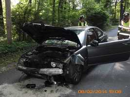 Police say the driver of this BMW fled the scene of a crash Monday, June 2, in Lebanon County.