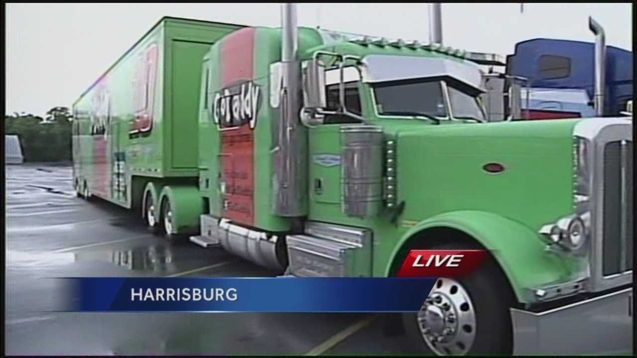NASCAR haulers make a pit stop in Harrisburg on their way to the Pocono.