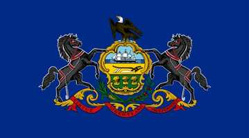 State flag:  Composed of a blue field with the Coat of Arms embroidered on it. Flown from all state buildings&#x3B; further display on any public building is provided for by law. (First authorized by the General Assembly in 1799&#x3B; standardized in June 1907 with a requirement that the blue field match the blue of Old Glory.)