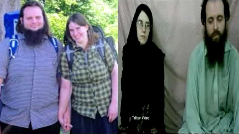 A photo of the couple from 2012 next to a video still of them following their capture.