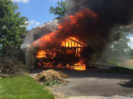 A fire ignited in a garage on the 1100 block of Newcomer Road in Rapho Twp., Lancaster County on Friday morning.