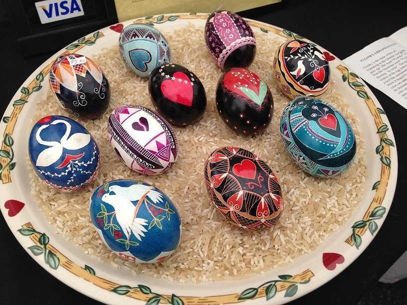 "The word ""Pysanky"" is derived from a Ukrainian word that means ""to write,"" and the designs are written on the eggs with beeswax using a pencil-like instrument called a ""Kistka."""