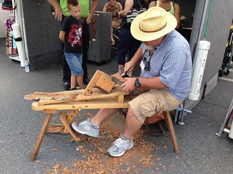 Mark Bair of M.D. Bair Woodcarving Studio showcased his hand-carved woodwork at the event.