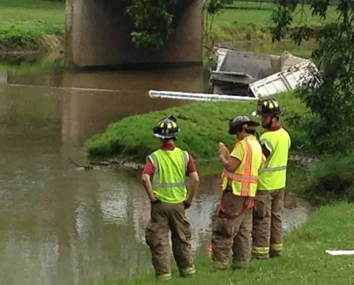 A masonry supply truck driver suffered a minor injury Tuesday morning when his truck went into a Lancaster County creek.