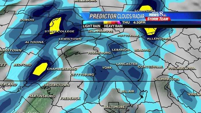These graphics show computer projections for rain in the Susquehanna Valley today, into tomorrow. The day and time are noted in the upper right.