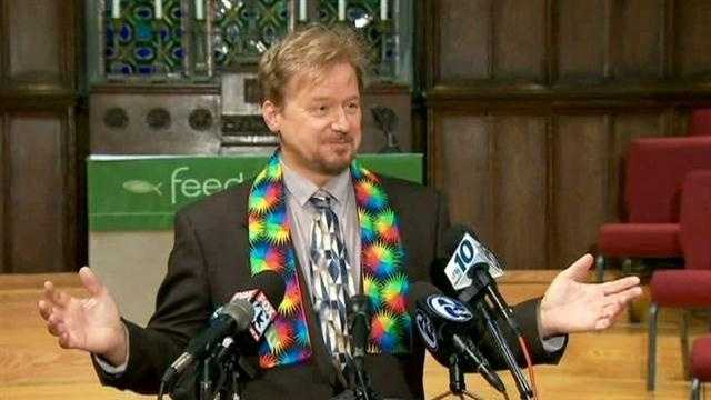 Rev. Frank Schaefer donned a rainbow-colored stole to represent his support of the LGBTQ community at a press conference on Tuesday.
