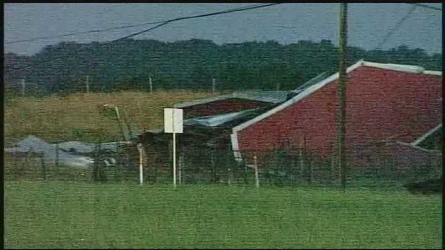 Winds blew the roof off a barn and toppled a silo in Paradise Township, York County, Tuesday evening.