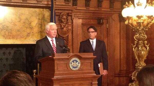 Gov. Tom Corbett talks to the media at a Thursday morning news conference.