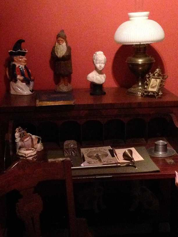 """This antique desk is believed to be where author Clement Moore penned """"Twas the Night Before Christmas."""""""